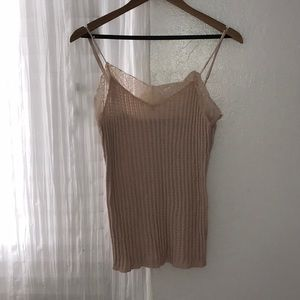 Camisole with lace trim at top